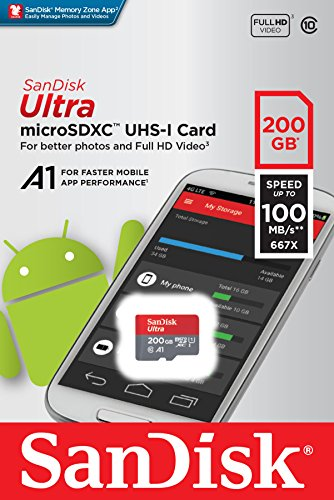 SanDisk Ultra 200 GB microSDXC Memory Card + SD Adapter with A1 App Performance Up to 100 MB/s, Class 10, U1