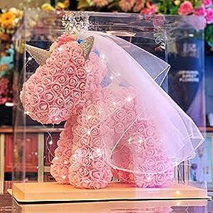 immortal flower, unicorn, pe, foam, rose bear, girlfriend, birthday, valentine's day gift, immortal flower. silk flower arrangements