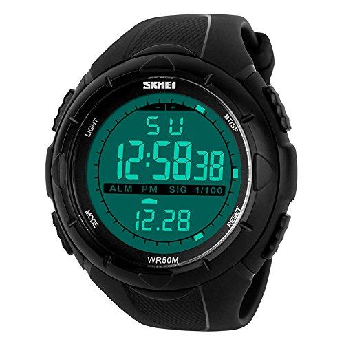 TTLIFE 1025 al aire libre Hombres Reloj Deportivo multifunción LED Relojes de pulsera 50 m resistente al agua, negro