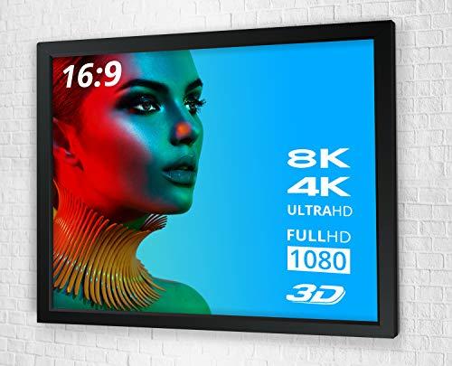 ULTRALUXX - Beamer Leinwand Rahmenleinwand | 309 cm (122 Zoll) Bilddiagonale | 266 x 149 cm Projektionsfläche | Rahmen: Schwarz | Format: 16:9 | Gesamtbreite: 284 cm | Heimkino der Extraklasse 3D 4K Full HD