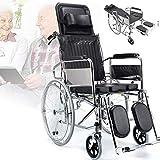 Silla de ruedas autopropulsada Peso ligero Acero Plegable Anciano Cómoda Silla de ruedas Elevador de piernas y reposacabezas, reposabrazos y reposapiés extraíbles