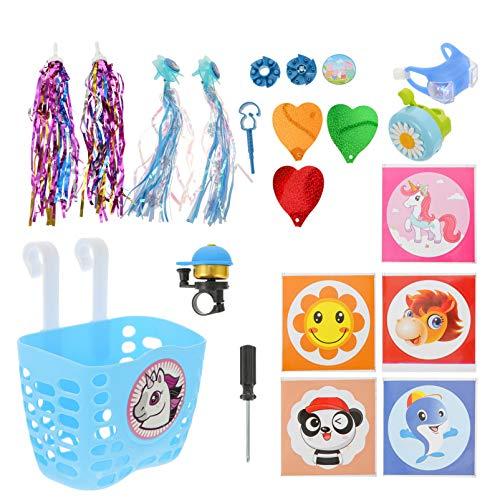 Amosfun Kit de decoración de bicicleta de unicornio incluye cesta de bicicleta de dibujos animados campanas serpentinas suministros de bicicleta para niños pequeños niños azul