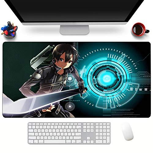 Alfombrillas de ratón,Alfombrilla De Goma Anime Sword Art Online Alfombrilla De Escritorio Antideslizante Suave Alfombrilla para Computadora Tamaño E