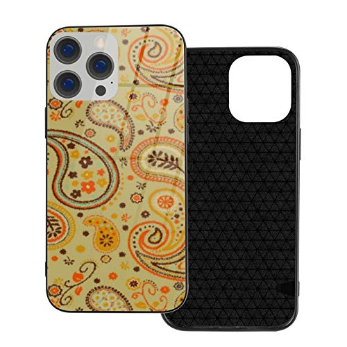 Compatible con iPhone 12 Pro Max, carcasa resistente de cuerpo completo, funda de vidrio TPU suave para iPhone 12 Pro Max 6.7 pulgadas, pintura al óleo cálida Paisley