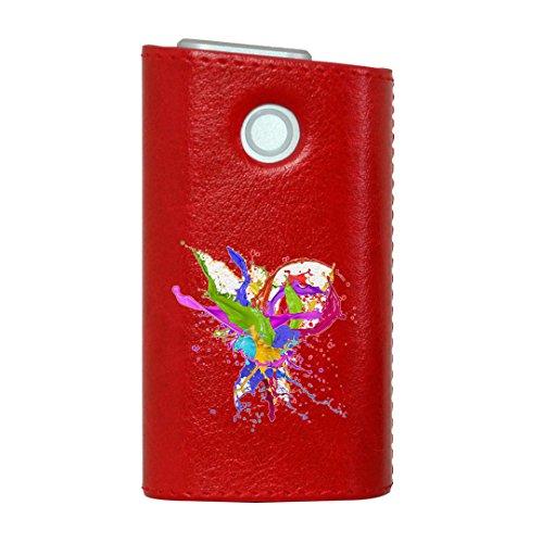 glo グロー グロウ 専用 レザーケース レザーカバー タバコ ケース カバー 合皮 ハードケース カバー 収納 デザイン 革 皮 RED レッド ユニーク インク ペンキ カラフル 007909