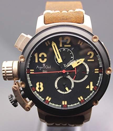 DAGEGIRL Nagelneue Mann-automatische mechanische Uhr-Schwarz-Silber-Rosen-Goldboots-Edelstahl-Brown-Leder-Sport-50mmUhren für U1