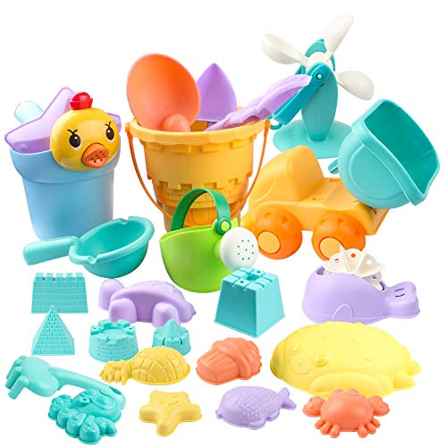 Swonuk 26 Stück Sandspielzeug Set Sandkasten Spielzeug Strandspielzeug in Netzbeutel Strand Sand und Wasser Spiel für Jungen und Mädchen
