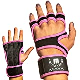 Mava Sports Hand Grips Gloves with Strong Hook and Loop Wrist Support for Cross Training, Intense Workouts, HIITS, Sports – Strong Leather Grip, Wrist Grip, WOD Gloves – Palm Protector, Pink, Pair