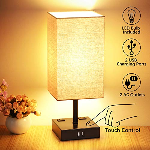3 Way Dimmable Touch Control Table Lamp, Modern Bedside Desk Lamp with 2 Fast USB Charging Ports 2 AC Outlets, Nightstand Lamp for Bedroom Living Room Office, 60W LED Bulb Included, Black Base