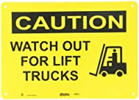 """Master Lock S9651 14"""" Width x 10"""" Height Polypropylene, Black on Yellow Safety Sign, Header """"Caution"""", Legend """"Watch For Lift Trucks"""" (with Picto)"""
