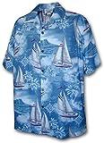 Pacific Legend Hawaiian Shirts Sailboats in Slate XL 410-3610