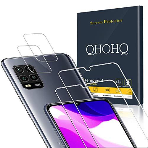QHOHQ 2 Piezas Protector de Pantalla para Xiaomi Mi 10 Lite 5G (No es para Mi Note 10 Lite) con 2 Piezas Protector de Lente de Cámara, Cristal Templado Membrana, [9H Dureza] - HD - [Anti-Arañazos]