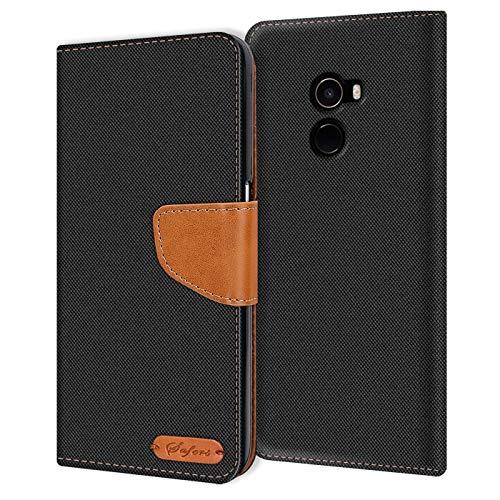Verco Art Funda de Cuero Xiaomi Mi Mix 2, Funda para teléfono móvil para Xiaomi Mi Mix 2 Funda de Libro Tela, Negro