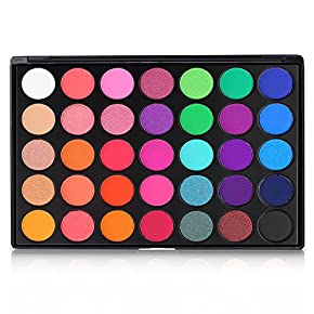 Eyeshadow Palette, 35 Bright Colors Matte Shimmer Eyeshadow Makeup Pallete – Long lasting and High Pigment Silky Powder Eye Shadow Cosmetics Set #35E