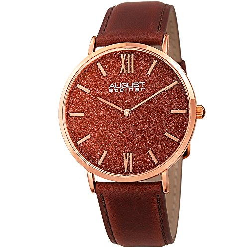August Steiner Men's Rose Gold Watch - Exquisite Red Sand Stone Dial On Genuine Brown Leather Strap...