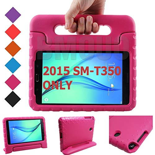 BMOUO Kids Case for Samsung Galaxy Tab A 8.0 (2015) SM-T350 - EVA Shockproof Case Light Weight Kids Case Super Protection Cover Handle Stand Case for Children for Samsung TabA 8-inch Tablet - Rose