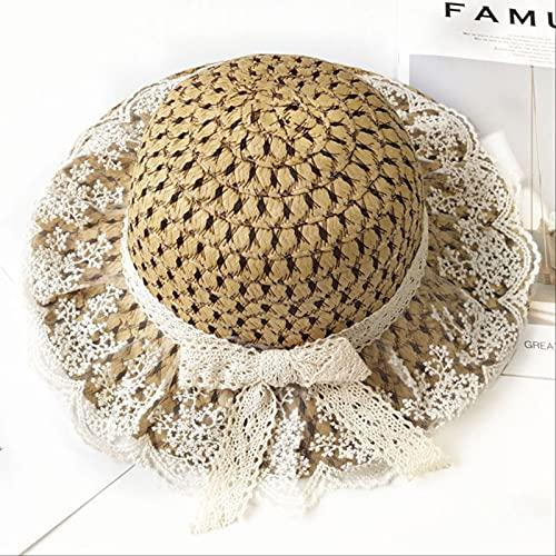 Lsthnm Sombrero De Paja De ala Ancha para Padres E Hijos Sombreros para El Sol Sombreros De Playa Plegables Enrollados Floppy para Niñas Mujeres Playa Camping Pesca Senderismo