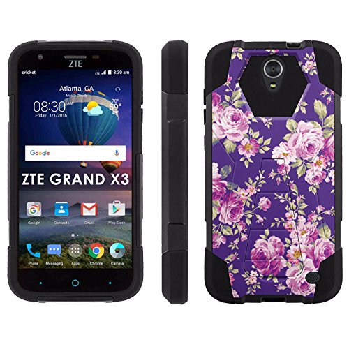 ZTE Uhura Grand X3 Z959 [Warp 7] Phone Cover, Purple Flowers - Black Hexo Hybrid Armor Phone Case for ZTE Uhura Grand X3 Z959 [Warp 7]