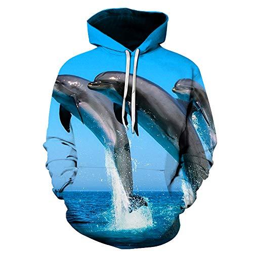 Blwz Hoodies Pullover 3D Freundliche Delphine Mode Druck Unisex Strickjacke Männer Frauen Langarm Sweatshirts Uniform Pullover Outdoor Freizeit Club, M