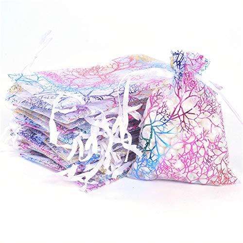 MURUI 50 bolsas de organza transparente para joyería de 7 x 9 cm, 9 x 12 cm, 10 x 15 cm, 13 x 18 cm, bolsas de organza azul blanco YC0221 (color: 50 piezas blancas, tamaño: 10 x 15 cm)