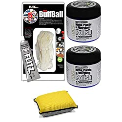 Flitz Paste Polish Can (2 Packs) Bundle with Buffing Polish Ball 5 Inch and Buffing Sponge