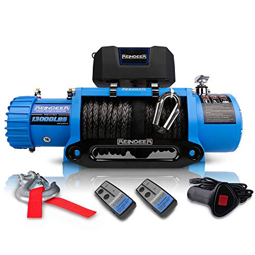 REINDEER 12V Winch 13000 lb Load Capacity Electric Winch Synthetic Rope with Hawse Fairlead Waterproof IP67 with Wireless Handheld Remotes