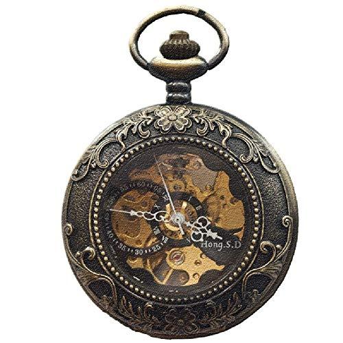 J-Love Bronze Gericht geprägt automatische mechanische Taschenuhr Clamshell klassischen Retro-Stil ausgehöhlte Wanduhr ältere Studenten