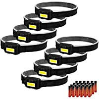 8-Pack COB Flood Light Ultra Bright Head Lamp with 3 Modes