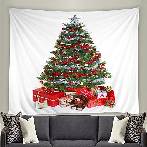 JFZJFZ Happy Christmas Tree Wall Hanging Santa Claus 3d living room Bedroom Home Decor Wall covering Tapestry-250x170cm