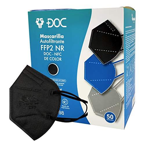 GreenBee 50 Mascarillas auto filtrantes de partículas FFP2 NR de 5 capas y alta capacidad de filtración igual o superior al 95%, 50 unidades (Negro)