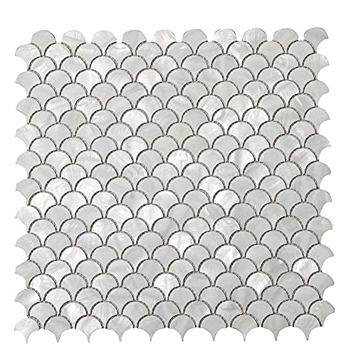 Diflart Oyster Mother of Pearl Fan Scale Shell Mosaic Tile for Kitchen Backsplashes Bathroom Tiles Pack of 10 Sheets