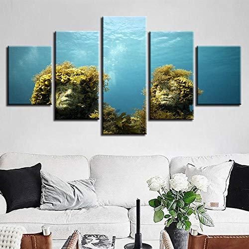 SFDHG leinwanddrucke 5 stück Korallenriff Ste StatueUnderwater hd drucke posterwanddeko Wand wohnzimmerwandbilder Bild Schlafzimmer-with Frame-110x60Cm