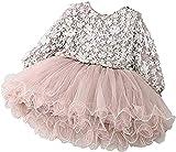 Carolilly - Vestido de bebé para niña, con costuras de hilo de punto, a la moda, fresca, pétalos tridimensionales, cuello redondo, para niña, manga larga Rosa 2 Años