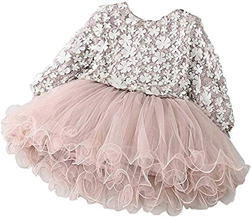 Carolilly Abito da Bambina Neonata con Cuciture in Filato di Maglia Moda Fresca Petali Tridimensionali Girocollo Vestito per Bimba a Maniche Lunghe (Rosa, 4 Anni)