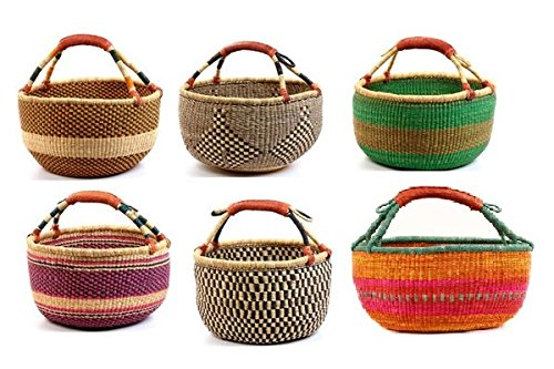 XL Bolga African Bolga Basket Fair Trade Ghana Baskets toys Egg baskets -17'-18' Across (COLORS...