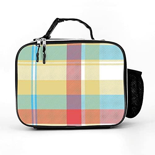 AXGM Bolsa isotérmica de cuadros escoceses, bolsa de almuerzo, bolsa térmica elegante, bolsa de pícnic, bolsa de picnic aislada para camping, senderismo, picnic, color blanco, talla única