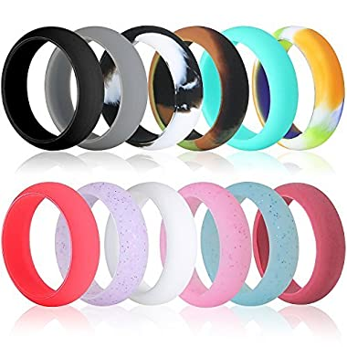 Silicone Wedding Ring For Women 12 Pack, Premium Medical Grade Rubber Wedding Band Antibacterial, Hypoallergenic, Waterproof For Work Sports Gym Yoga Rubber Ring Comfortable Fit & Skin Safe. -Size 5
