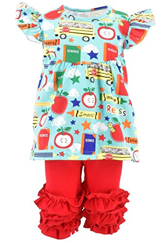 Unique Baby Girls Back to School Recess Tunic Boutique Outfit (7/XXL, Red)