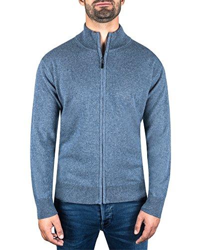 CASH-MERE.CH 100% Kaschmir Herren Pullover Cardigan mit Reißverschluss   Strickjacke mit Reißverschluss 2-fädig (Blau/Jeans Blau, XXL)