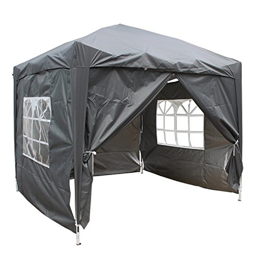 Greenbay Anthracite Heavy Duty Pop-up Gazebo Marquee Canopy with 4 Side Panels and Carrybag - 2m x 2m