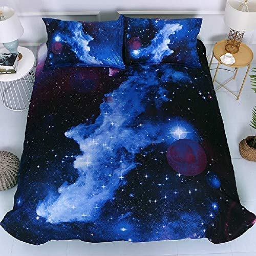 Galaxy Space Duvet Cover Kids 3D Bedding Set 3 Pcs Double Size Starry Theme Quilt Cover for Boys, Girls and Teens (1 Duvet Cover + 2 Pillowcases)