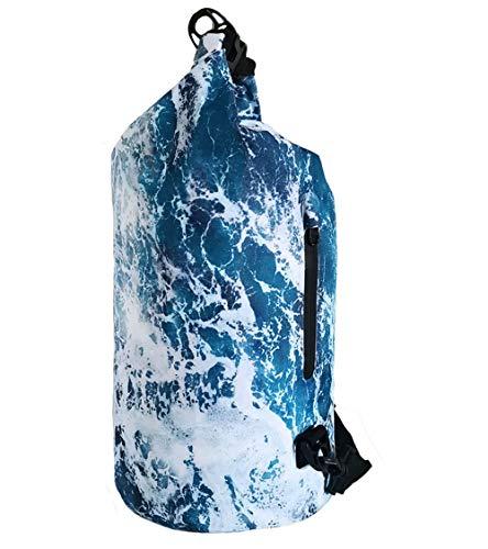 SNAILMAN Waterproof Dry Bag for Women Men, 10L Roll Top Lightweight Dry Storage Bag Backpack with Phone Zipper Pocket, Swimming, Boating, Kayaking, Beach (Wave, 10L)