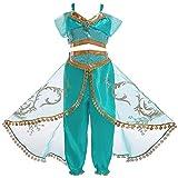 Eleasica Fille Aladdin Jasmine Princesse Cosplay Costumes 2pcs Ensembles Pantalons Déguisement Vert Halloween Noël Anniversaire Carnaval Fête Cosplay 110-150cm