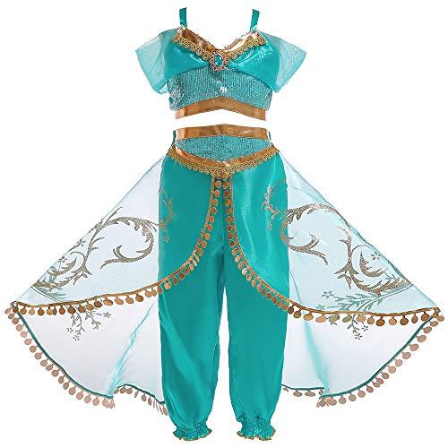 Eleasica Abito da Principessa Jasmine Ragazze Top Pantaloni Travestimento Bambine Aladdin Natale Regalo Costumi Carnevale Halloween Compleanno Danza del ventre