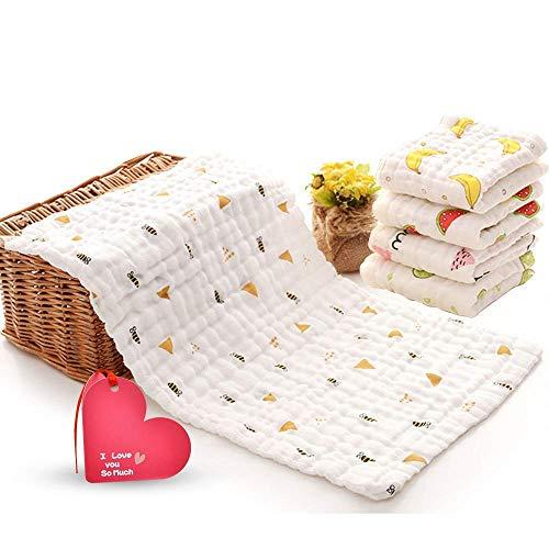 Musselin Baby Rülpsen Tücher Waschlappen Gesichtstücher 5er Pack Extra groß 10 x 20 Zoll 6 Schichten Super saugfähig Premium Soft Natural für empfindliche Haut Baby 100% Bio-Baumwolle (5 Früchte)