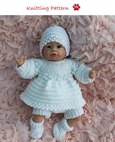 Angel Top and Dress set with Bobbled Yoke Knitting Pattern (no. 60) to fit 15-20 inch doll or newborn/0-3 month baby (English Edition)
