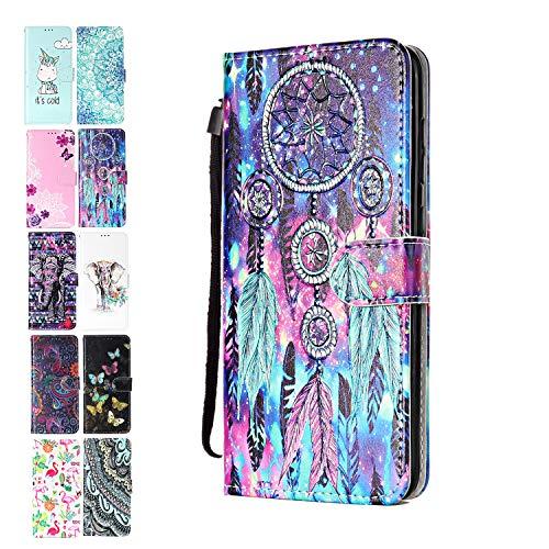 Ancase Lederhülle kompatibel für Motorola Moto G7 Play Hülle Bunter Traumfänger Muster Handyhülle Flip Hülle Cover Schutzhülle mit Kartenfach Leder Tasche für Mädchen Damen