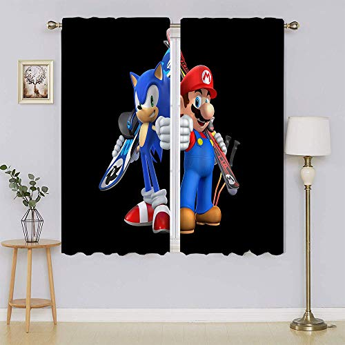 Sonic VS America Super-Mario-Bros-Mario Blackout Curtains Wide Blackout Patio Door Curtain Energy Efficient Curtain Panel Adorable and Lifable for Hall W52 x L63