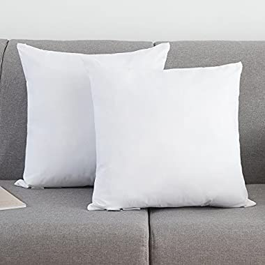Set of 2, YSTHER Down and Feather Pillow Inserts / Throw Pillows, Double Fabric, 100% Cotton, 20  L X 20  W, White