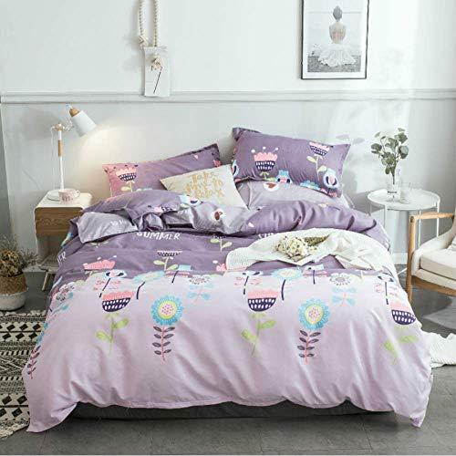 HHTEYP Bettwäschesätze 4Er Bett Romantischer Lila Strauß Bettlaken Kissenbezüge Abdeckset Bettlaken Aus Weicher Baumwolle Double(200X230CM)